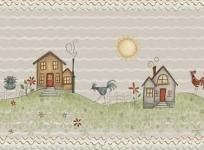 Patchworkstoff Quilt Stoff Hühner mit Häuser auf der Weide