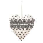 Clayre & Eef, Dekorations Herz LOVE Liebe Amor grau weiss