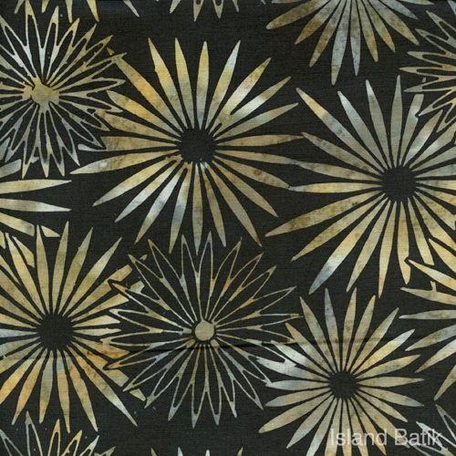 Patchworkstoff Quilt Stoff Batik Blumen auf schwarz