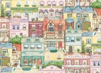 Patchworkstoff Quilt Stoff 3611-Multi Serie Old Town Häuser 45x110cm