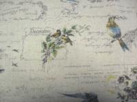 Leinenstoff Patchwork Quilt Stoff Japan Kaligrafie auf beige mit Vögeln