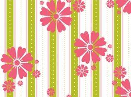 Patchworkstoff Stoff Quilt rosa Blumen auf grün und weiß gestreift