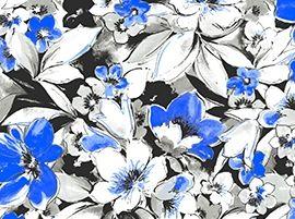 Patchworkstoff Fantasia Blumen gross blau schwarz weiss grau mix