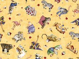Patchworkstoff Stoff Quilt Tiere mit Essen auf beige