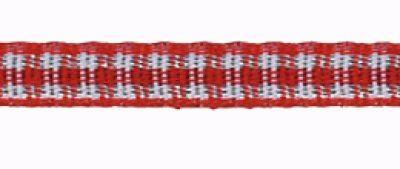 Schmuckwebband Karo-Band`Mini-Vichy` rot/weiß kariert Breite ca. 5mm